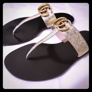 Gucci Marmont T-Strap Leather Sandals - NWOB
